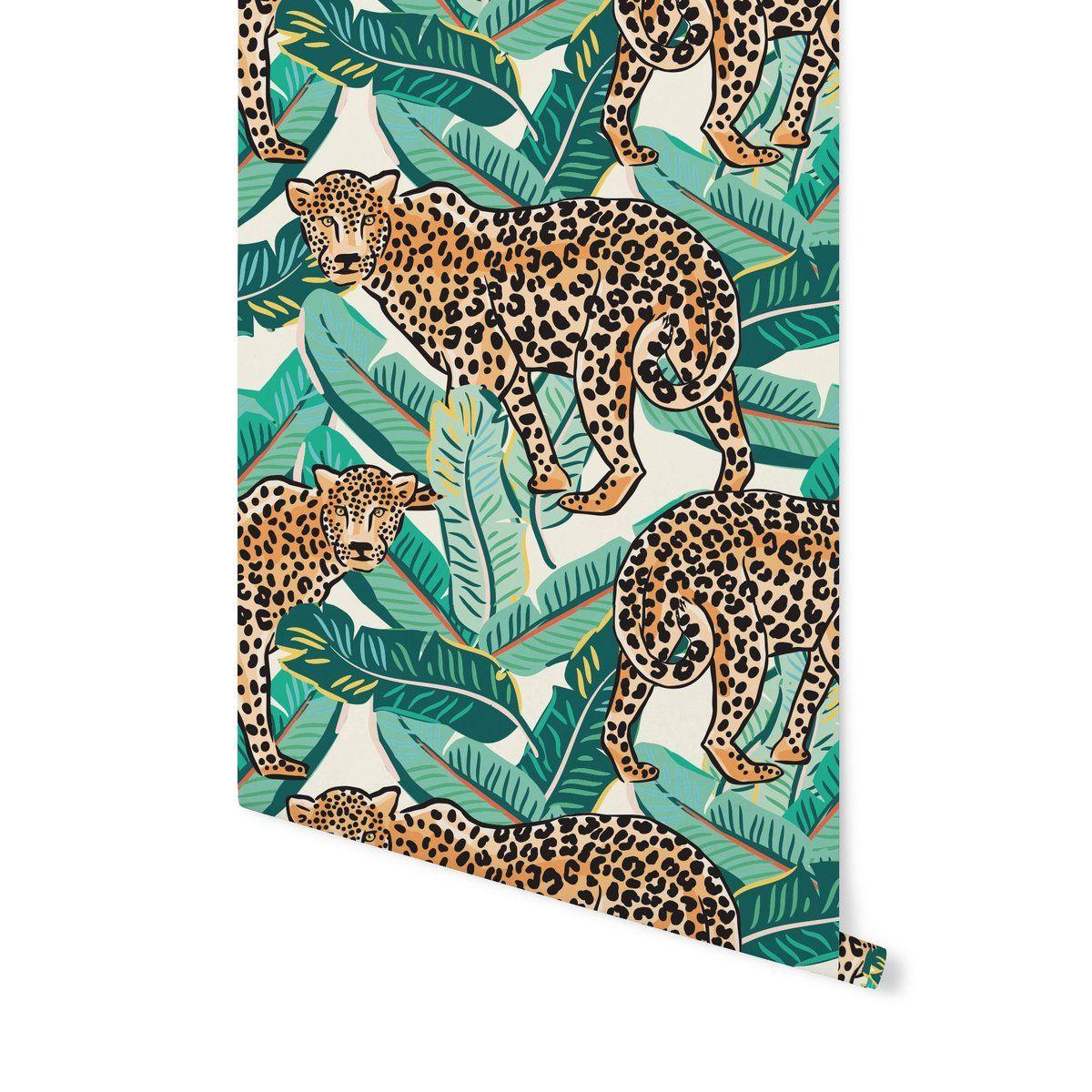 Jungle Leopard Banana Leaf Banana Leaf Banana Leaf Pattern Peel And Stick Wallpaper