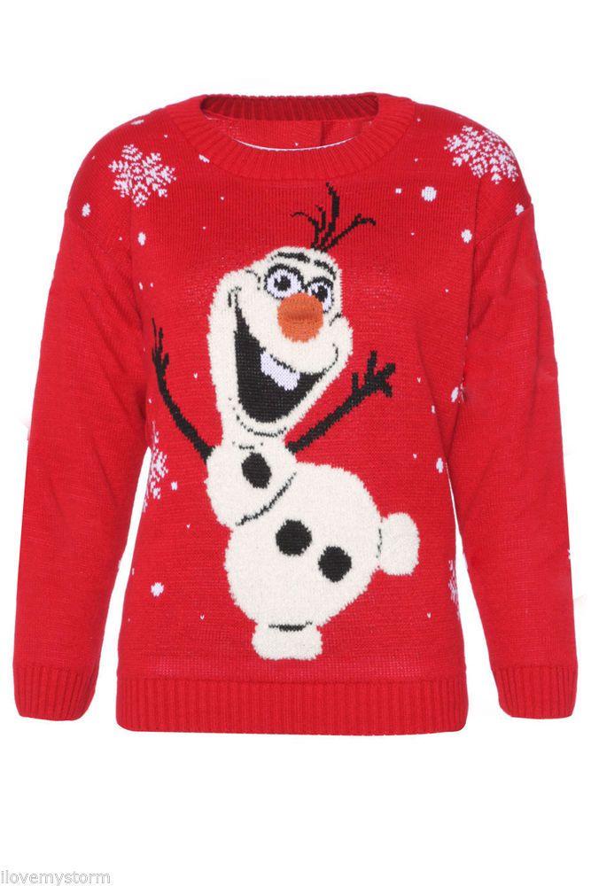 Frozen Kersttrui.Ladies Xmas Christmas Frozen Olaf Knit Vintage Winter Sweater Jumper