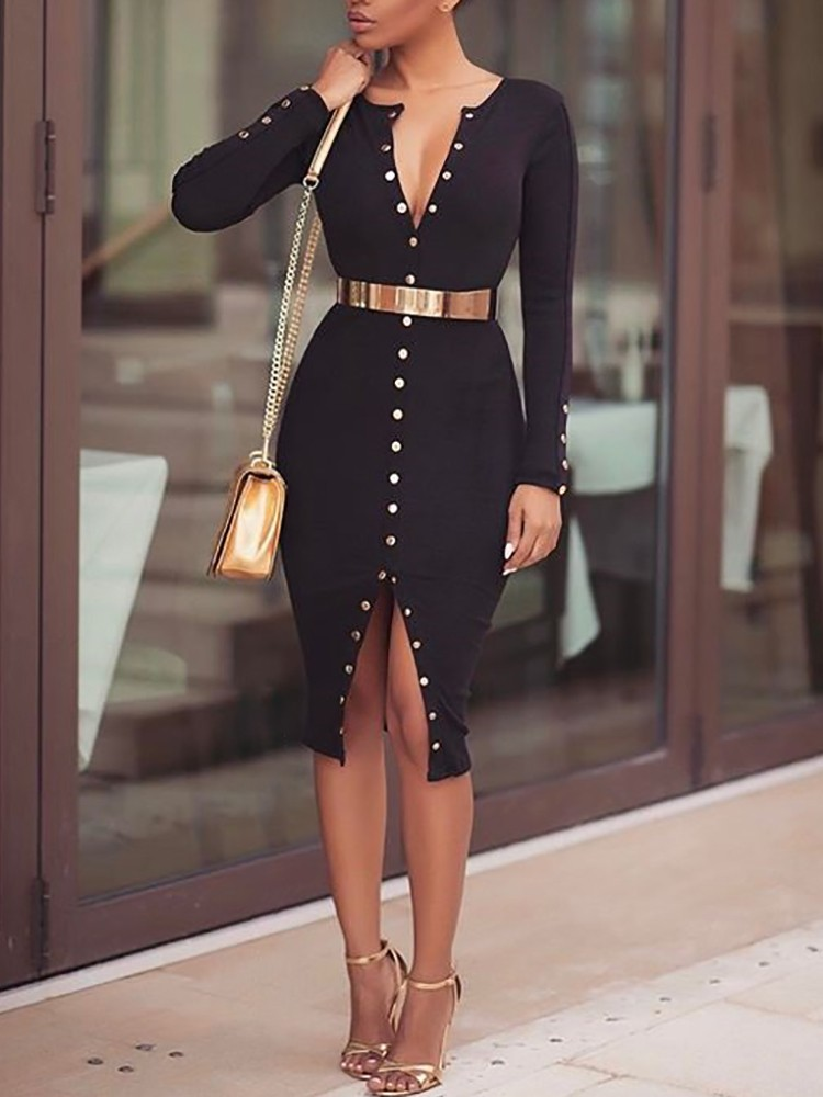 a2c66ee0347 Share to get cash coupon! Stylish Snap Button Design Midi Bodycon Dress