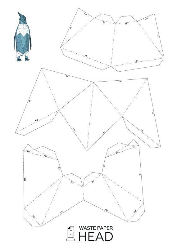 Papercraft Penguin Printable Diy Template By Wastepaperhead  Diy