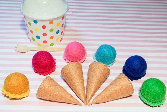 Felt Ball Ice Cream Set D Includes 4 Cones 6 Scoops Of Ice