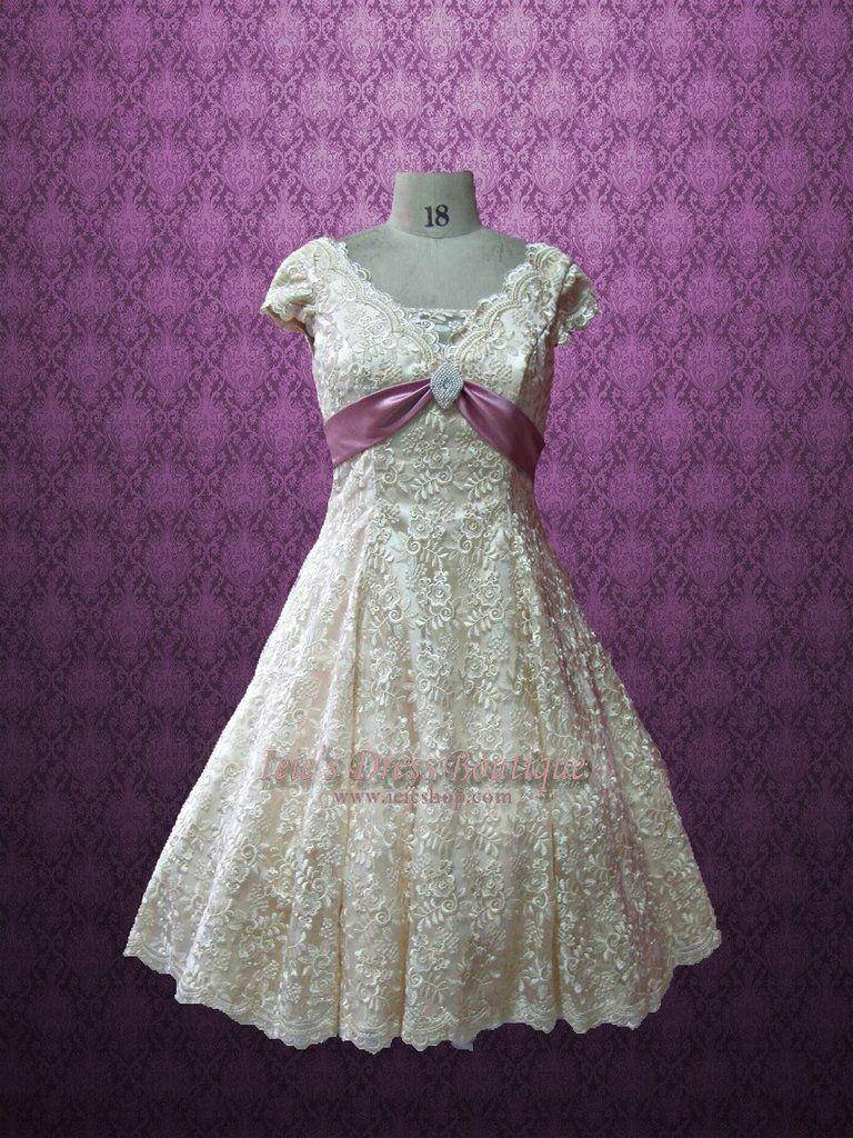 Retro vintage style modest tea length wedding dress with short