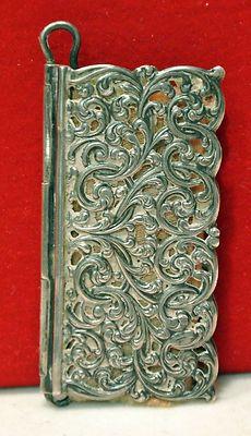 Antique Silver Filigree Book Cover Needle Case