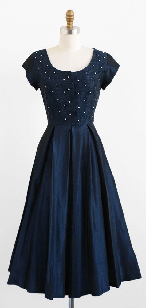 1940s Fashions In Red White Blue With Images: Vintage 1940s Dress / 40s Dress / Navy Midnight Blue