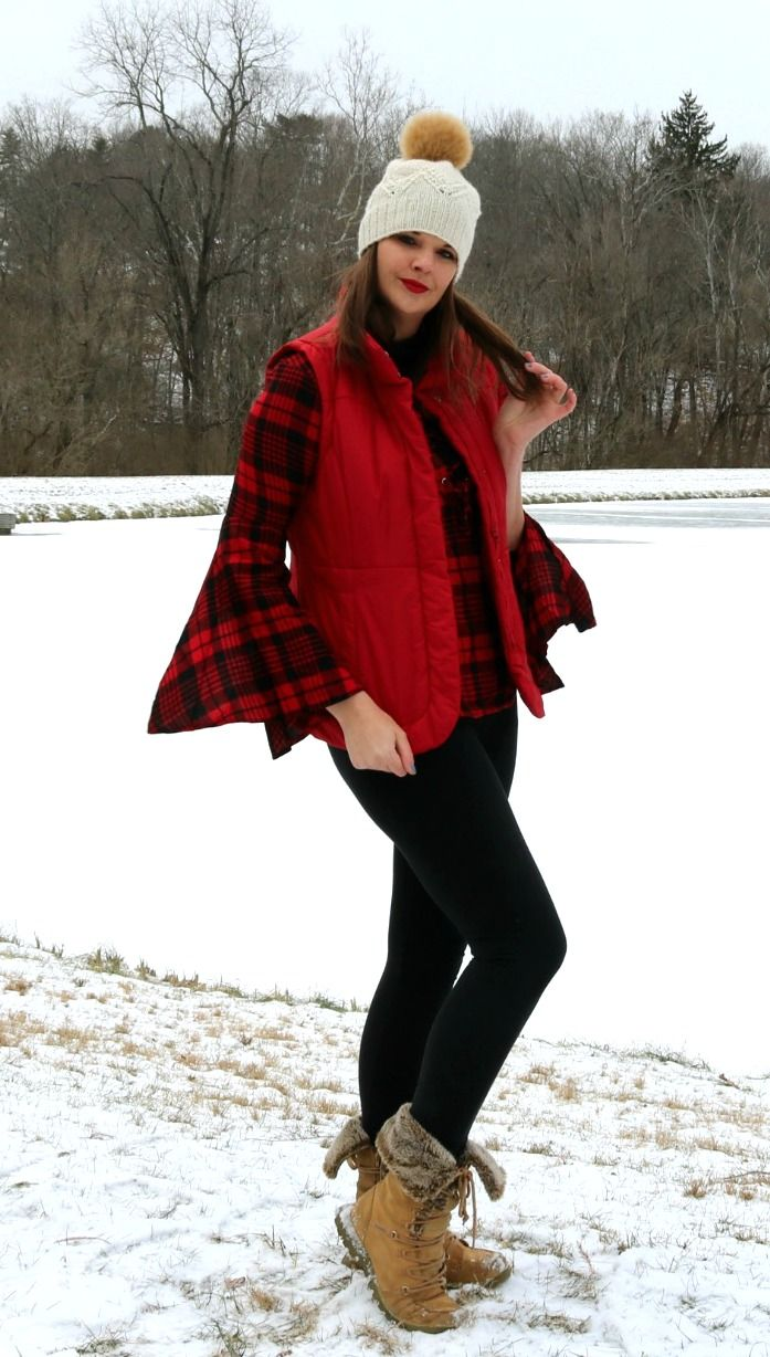 Snow Day Style with a Tobi Plaid Blouse, Red NY and Company Puffer Vest and Cozy Pompom Hat! #WinterFashion