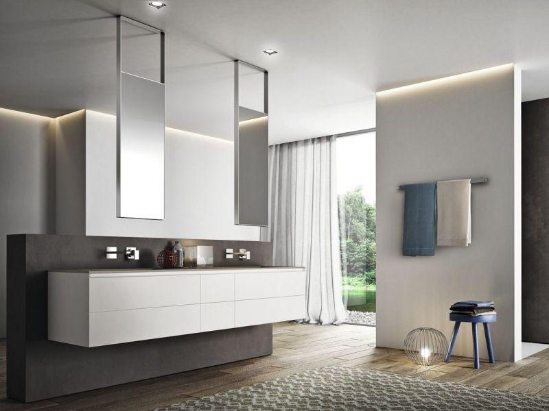 Badezimmermöbel design  Badezimmermöbel in Weiß - Wandschrank mit minimalistischem Design ...