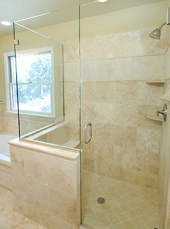 Like bench and glass doors on this one bathroom Pinterest