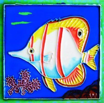 "Hand Painted Decorative Ceramic Picture Tiles Captivating Tropical Fish Iiiiiii  Decorative Ceramic Art Tile  4""x4"" Design Decoration"