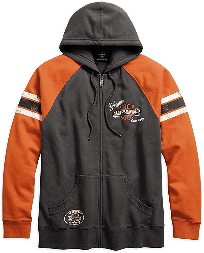 Grey HARLEY-DAVIDSON Official Mens Genuine Classics Pullover Hoodie