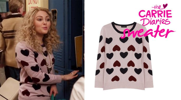 Wondering from where is the heart sweater that young Carrie Bradshaw wore at The Carrie Diaries episode 07? Find it here: http://manuluize.com/get-the-look-the-carrie-diaries-heart-sweater#