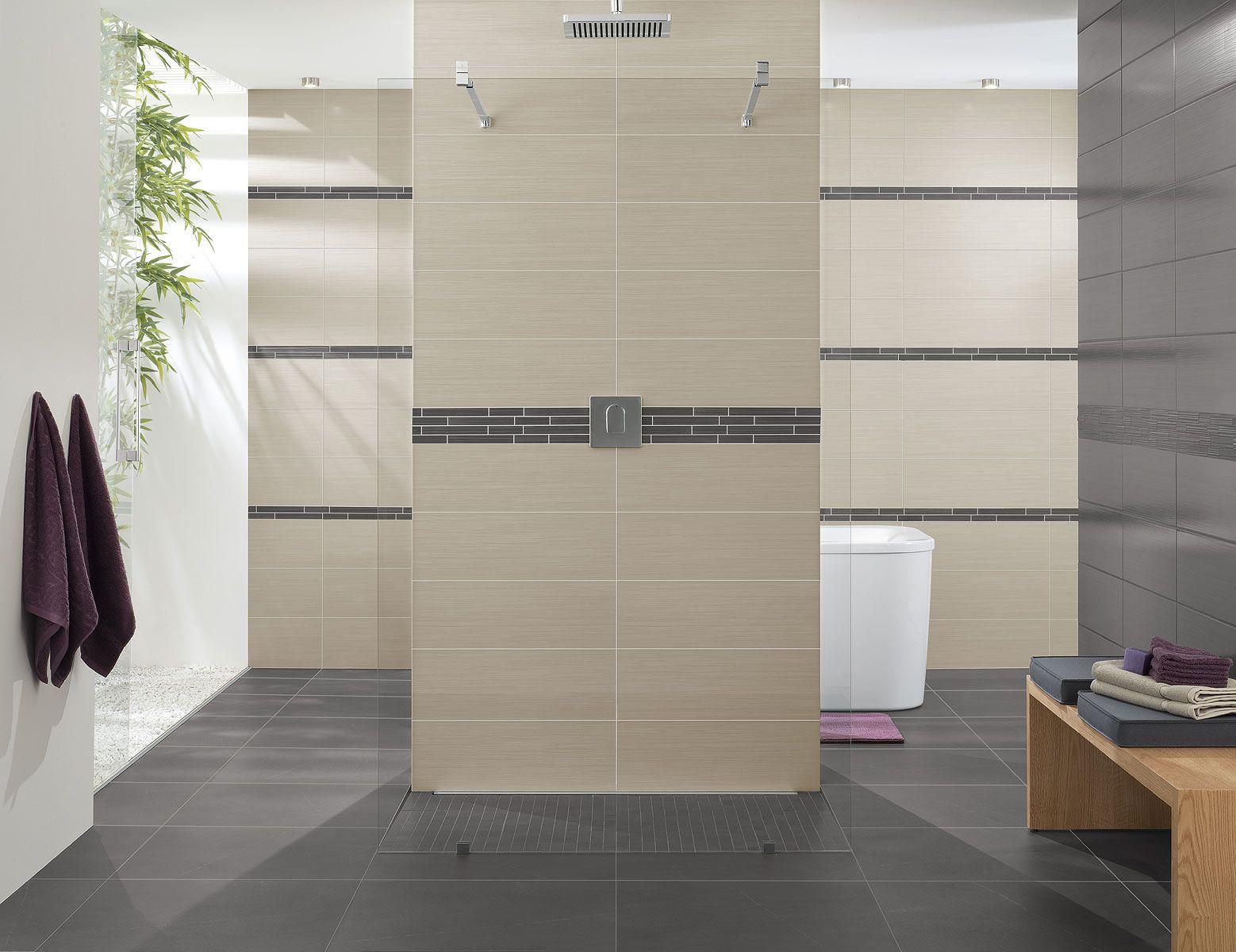 Carrelage design salle de bain beige-gris Timeline   Espace Aubade ...