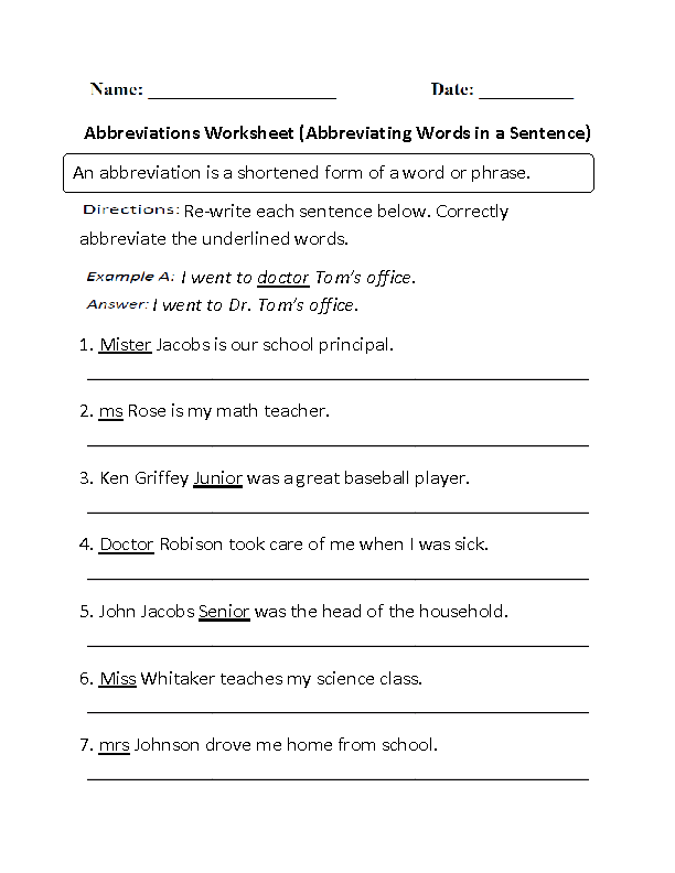 Abbreviating Words in a Sentence Abbreviations Worksheet Part 1 ...