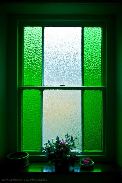 Stunning green stained glass window