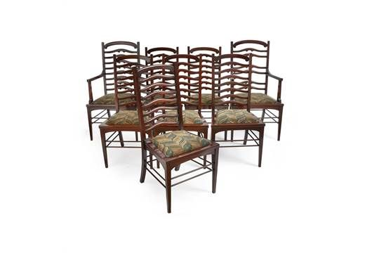WYLIE LOCHHEAD GLASGOW SET OF EIGHT MAHOGANY LADDERBACK DINING CHAIRS CIRCA 1900 Including