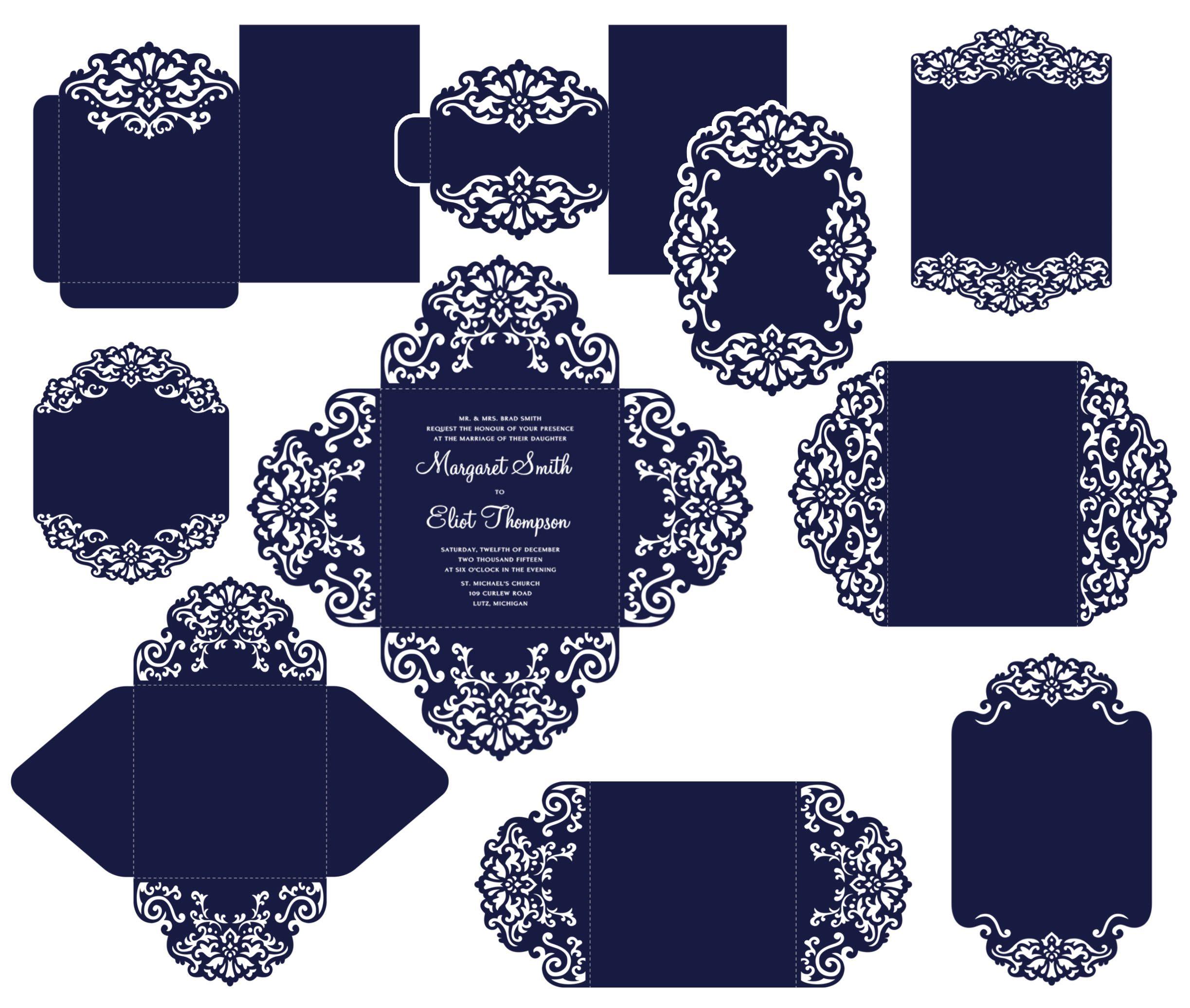 Big set cricut wedding invitation template gate fold card for How to make wedding invitations on cricut explore