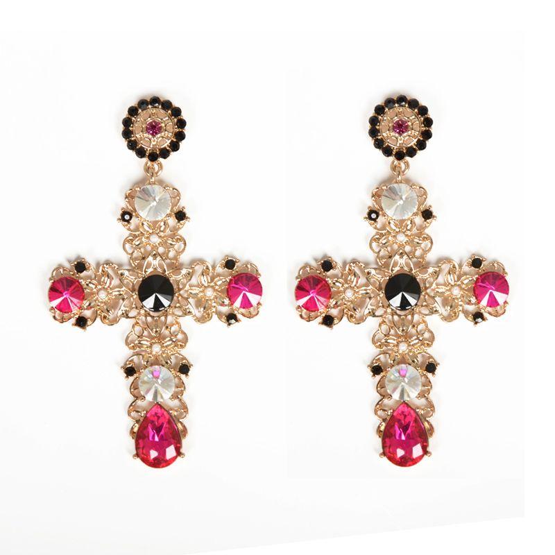 Baroque Luxury Gold Plated Crystal Cross Drops Earrings Pearl ...