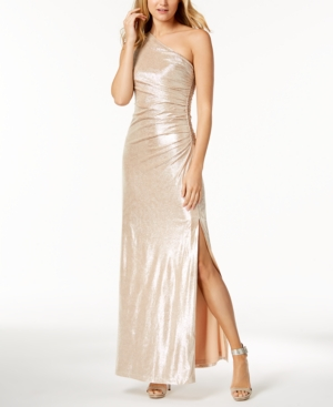 8db846a930a Calvin Klein Metallic Ruched One-Shoulder Gown - Gold 16