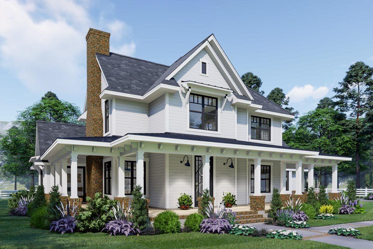 Plan 16908WG Eyecatching Modern Farmhouse with twostory
