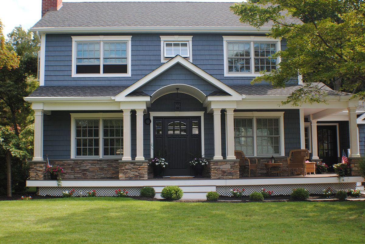 Nassau County Long Island Exterior Siding Certainteed Pacific Blue Cedar Impression Vinyl Shake Siding Residential House Siding Blue Siding House Exterior