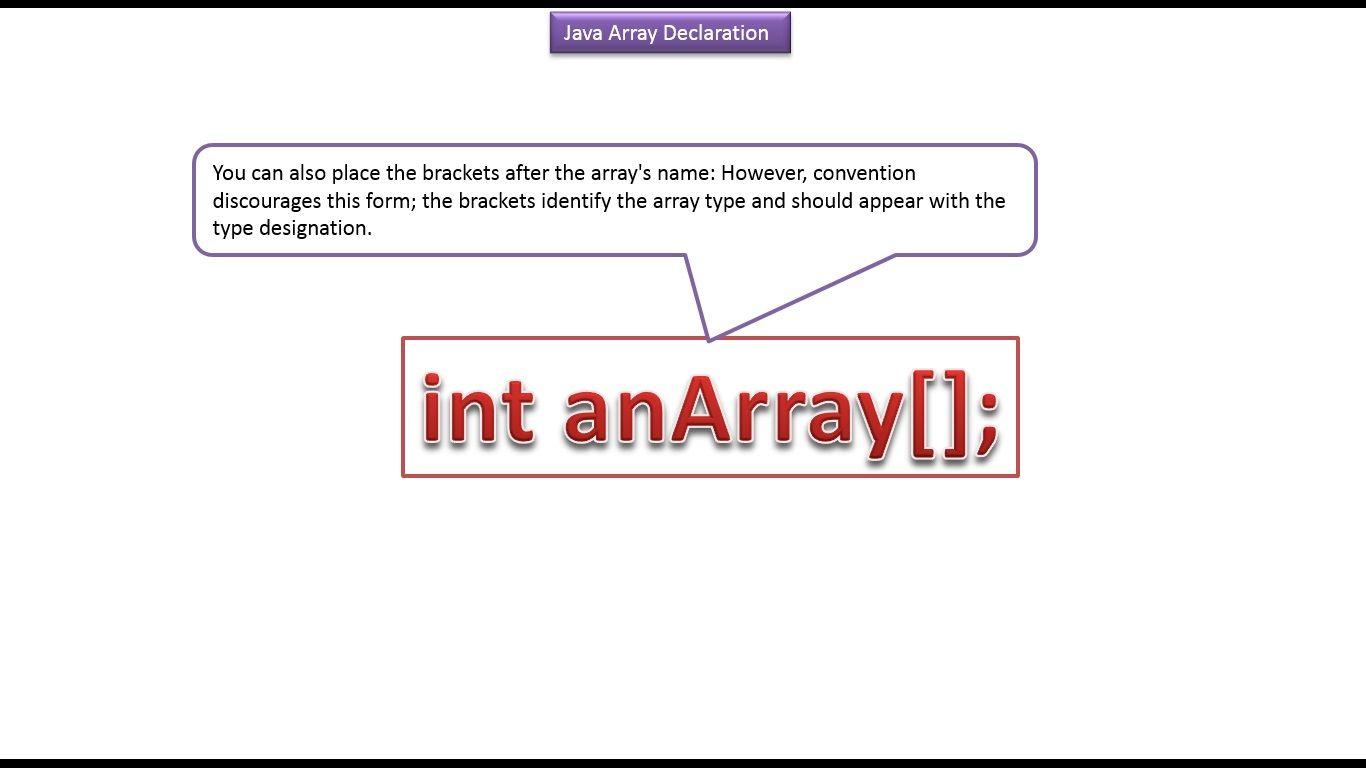 Java tutorial java array declaration java tutorial