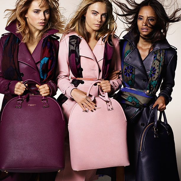 Trench coats in elderberry, midnight blue and nude blush with The Bloomsbury bag in grainy leather - the Burberry Autumn/Winter 2014 campaign
