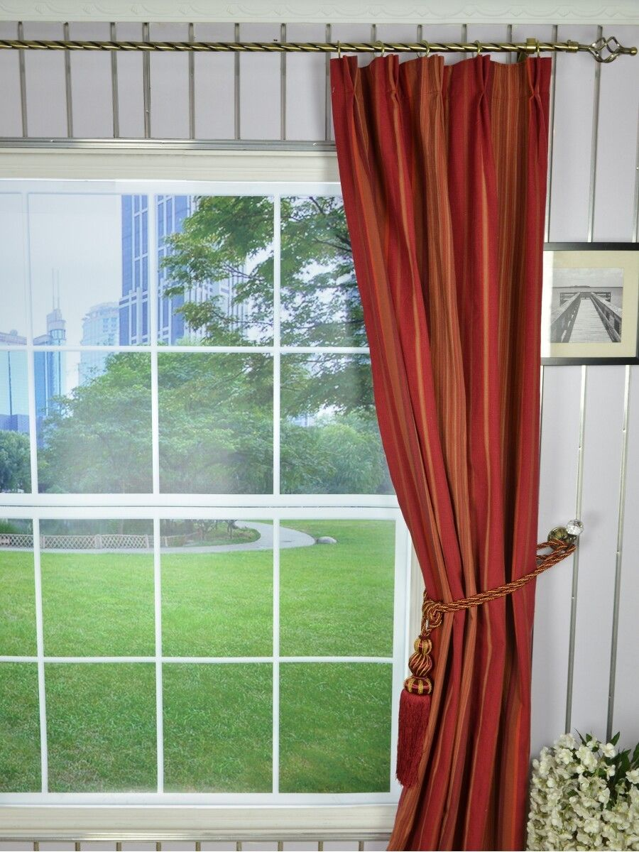 Irregular Striped Double Pinch Pleat Extra Long Curtains 108 120