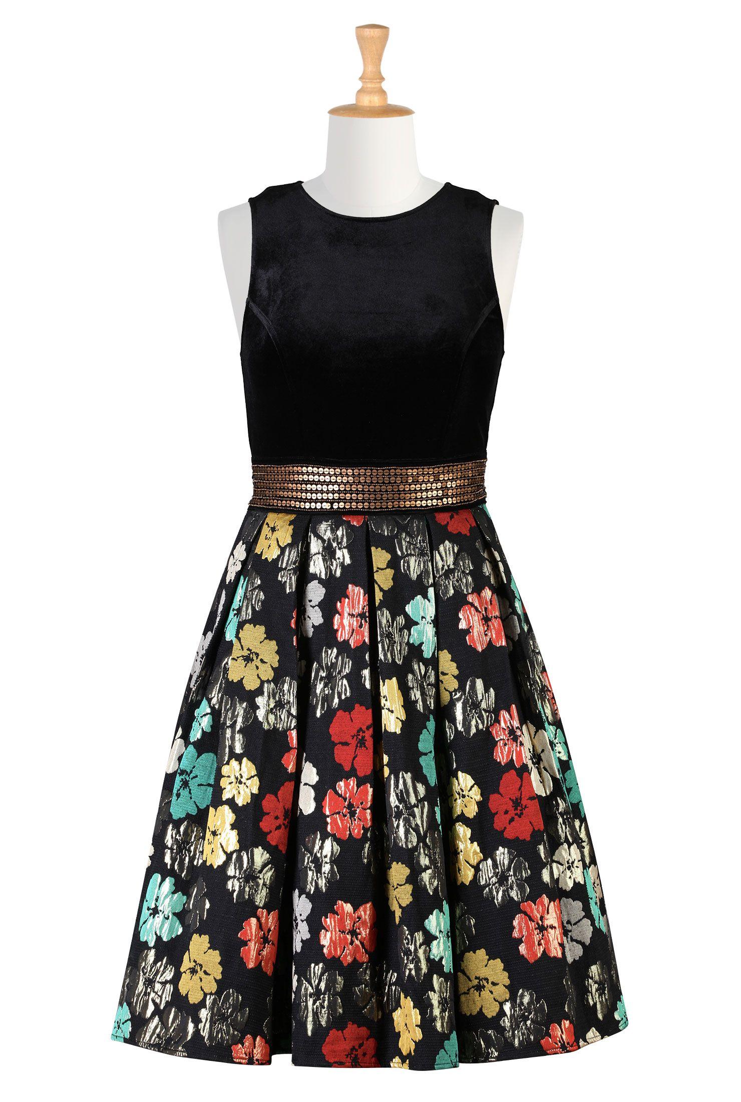 133d38aacf4 Floral Lurex Jacquard Dresses