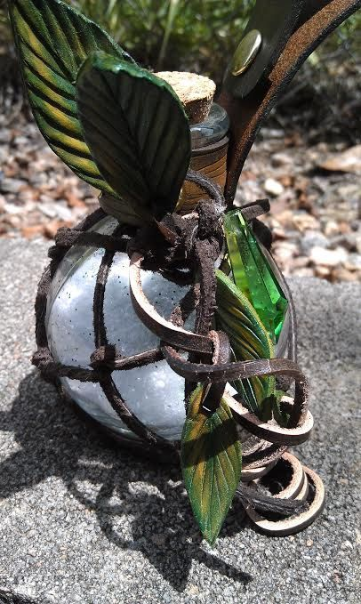 Deluxe Glass Earth Fairy bottle with leather by draikairion