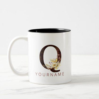 Floral Monogram Q Rich Autumn Foliage Two-Tone Coffee Mug | Zazzle.com #autumnfoliage