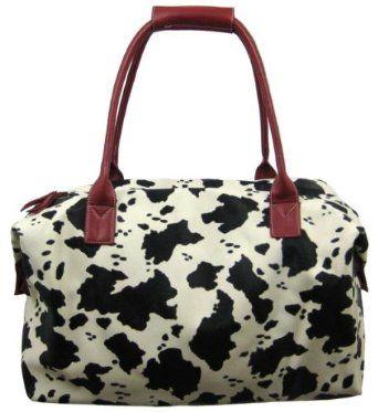Black / White Cow Print Overnight Bag Duffel Red Trim.  List Price: $49.99  Sale Price: $34.99  Savings: $15.00