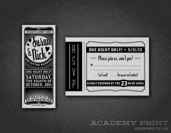 Printable Movie Ticket Wedding Invitation Rsvp Set Response Card