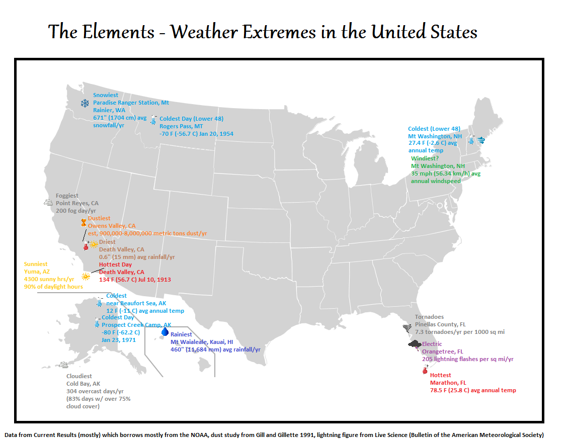 Weather Extremes in the US Maps Pinterest Weather