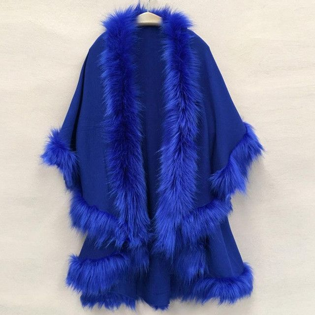 Women Cape Shawl Long Cardigan Sweater Luxury Faux Fur Collar Knitted Sweater Autumn/winter Sueter Capes And Poncho sudadera