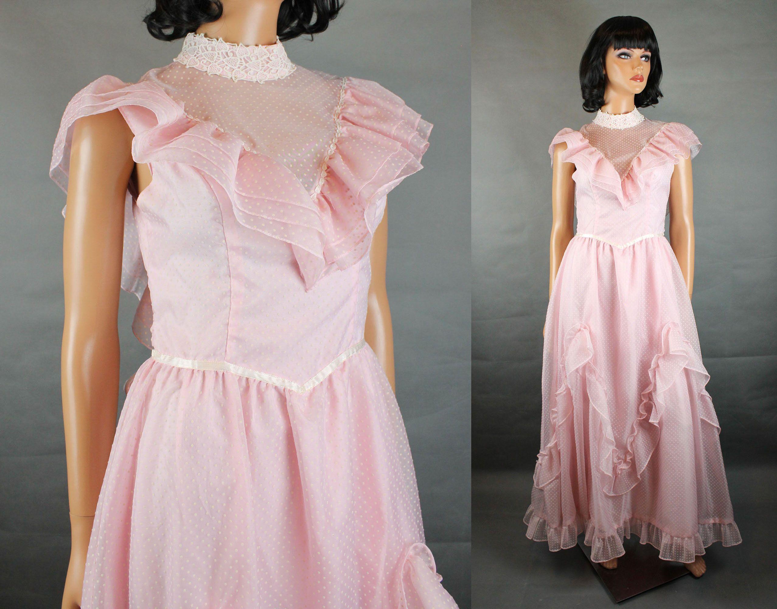 Hippie Wedding Gown Xs Vintage 70s Pink White Swiss Dot Chiffon Ruffled Dress Free Us Shipping By Chiffon Ruffle Dress Wedding Dresses For Girls Hippie Wedding [ 2000 x 2554 Pixel ]