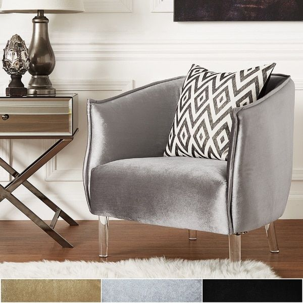 Best Vianne Velvet Curved Back Acrylic Leg Accent Chair By 400 x 300