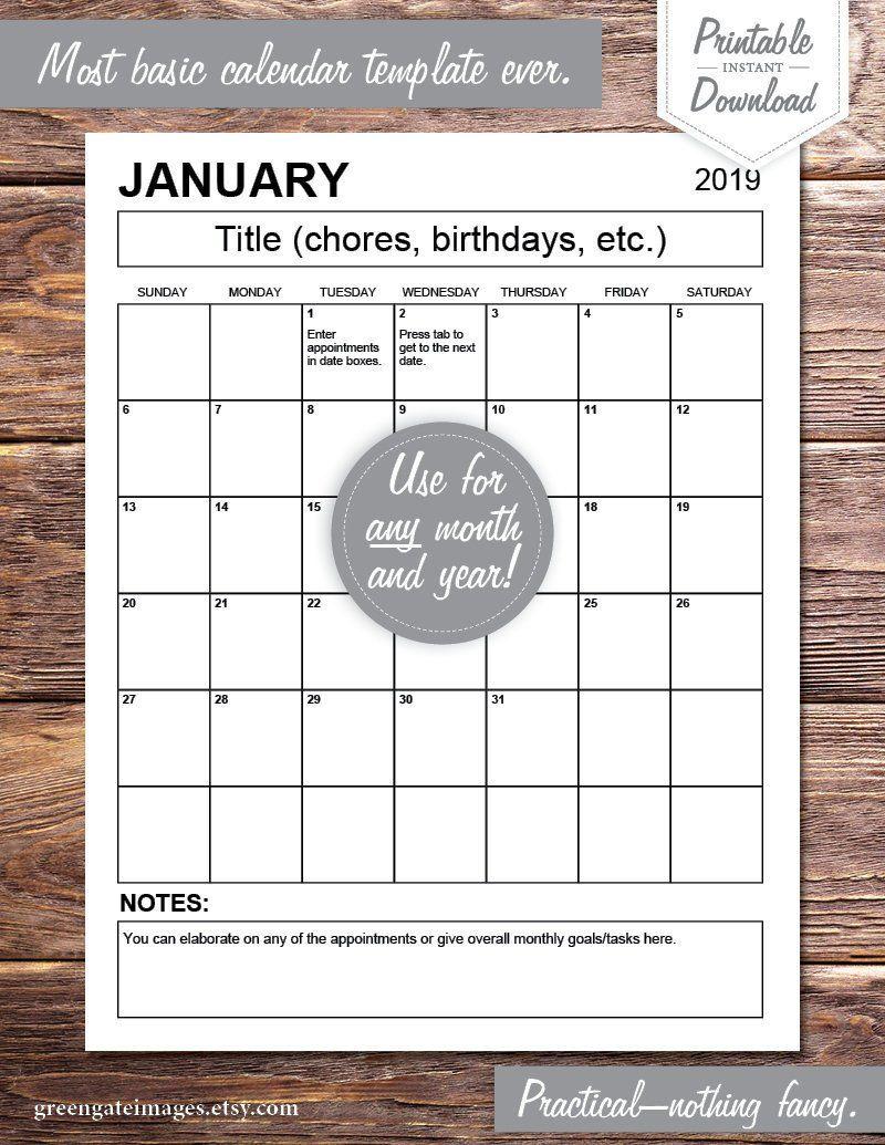 Editable Calendar PDF any year, fillable, printable