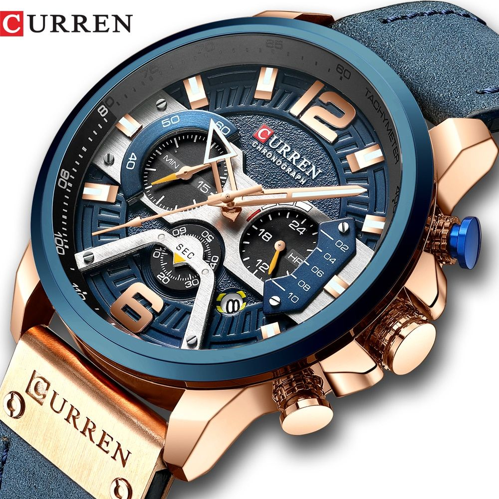Time Sale Curren Casual Sport Watches For Men Blue Top Brand Luxury Military Leather Wrist Watch Man Clock In 2020 Wristwatch Men Clocks Fashion Mens Casual Watches