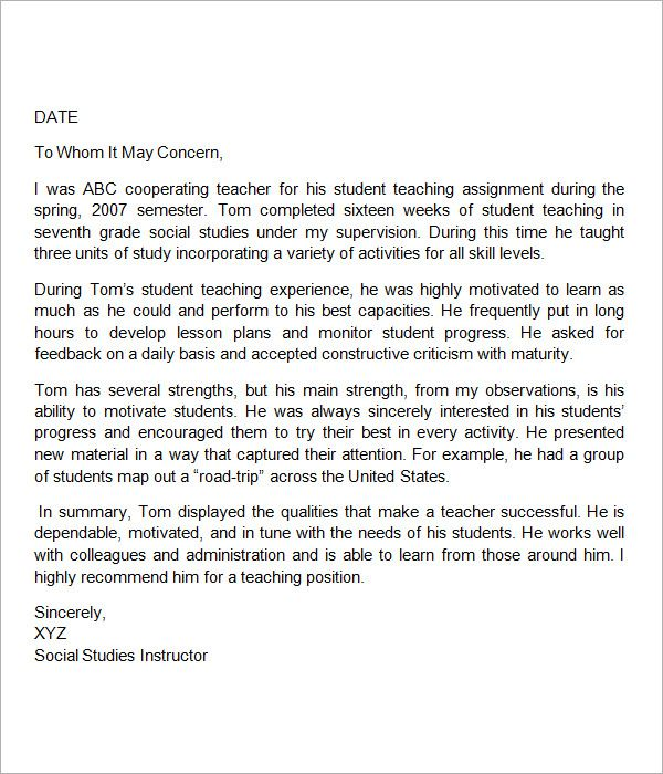 Sample Letter of Re mendation for Teacher