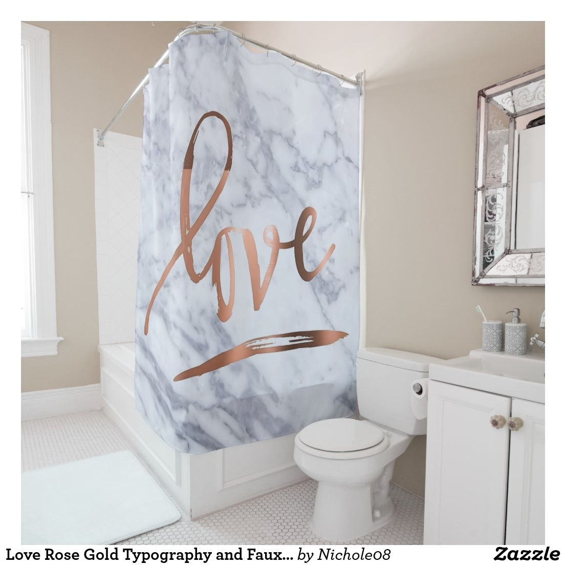 Love Rose Gold Typography And Faux Marble Shower Curtain