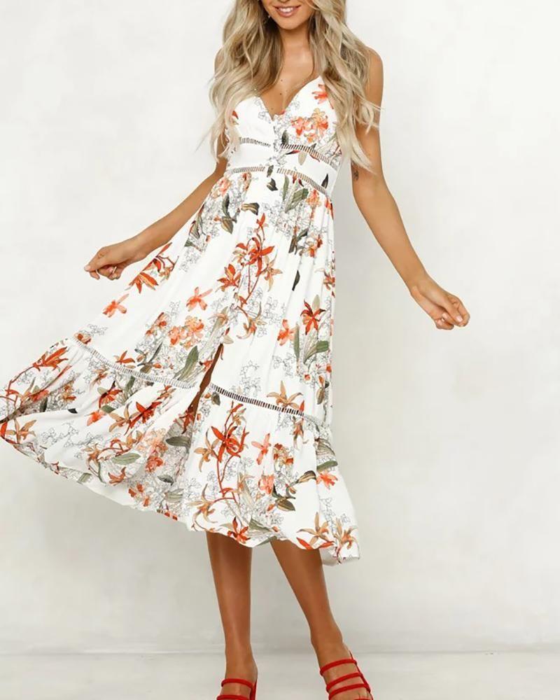 6be11716fef9 2019 的 V-Neck Print Stitching Holiday Dress 主题