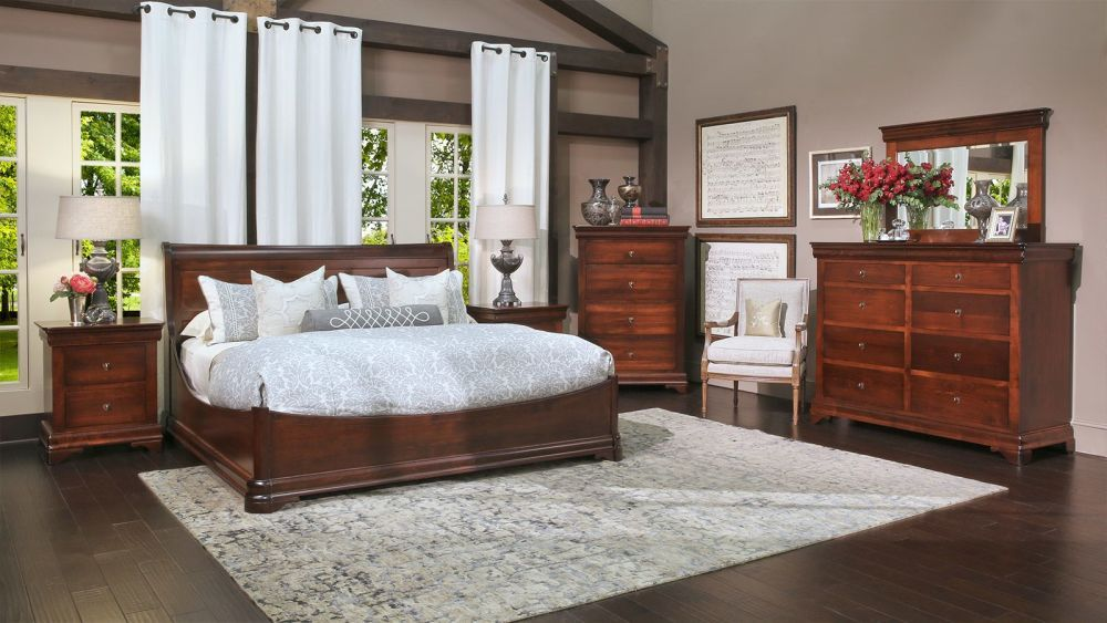 Proudly Made In America This Bedroom Set Features Solid Brown Maple Wood Construction A Huge Amount Of Storage Sweeping Curves And An Elegant Style