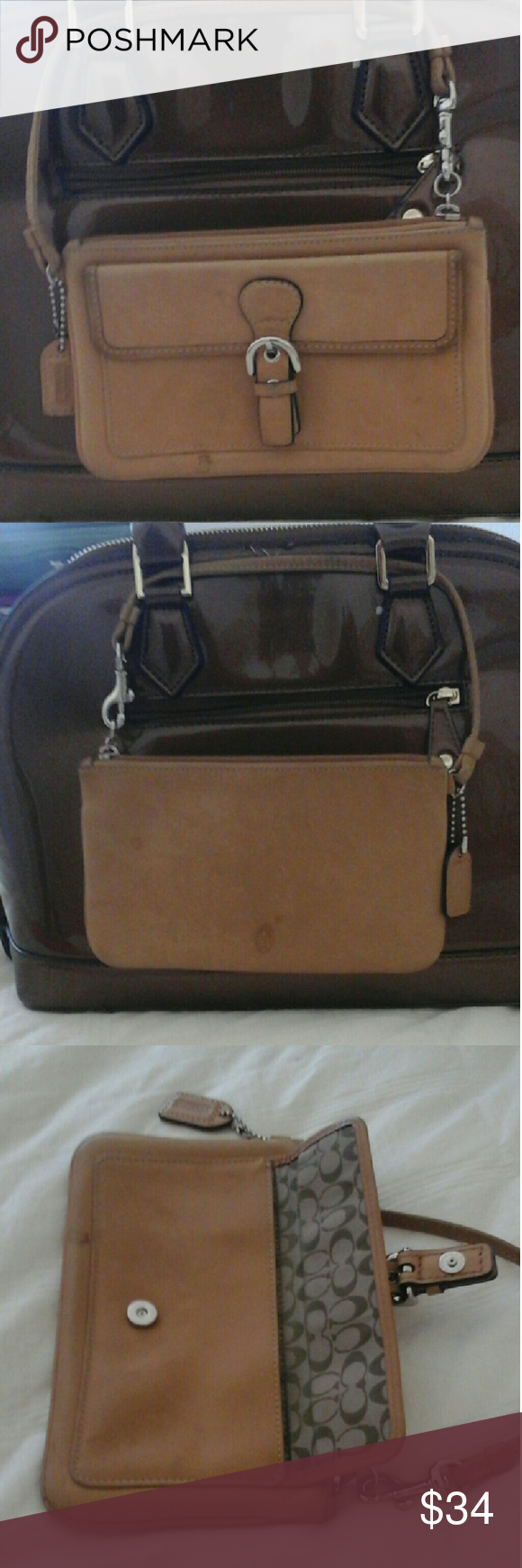 Pre-loved Coach Tan Leather Wristlet There are markings due to the item getting wet. Some good old leather cleaner just may work!! Super soft leather too! $30 because of the leather...ty for looking!! Coach Bags Clutches & Wristlets