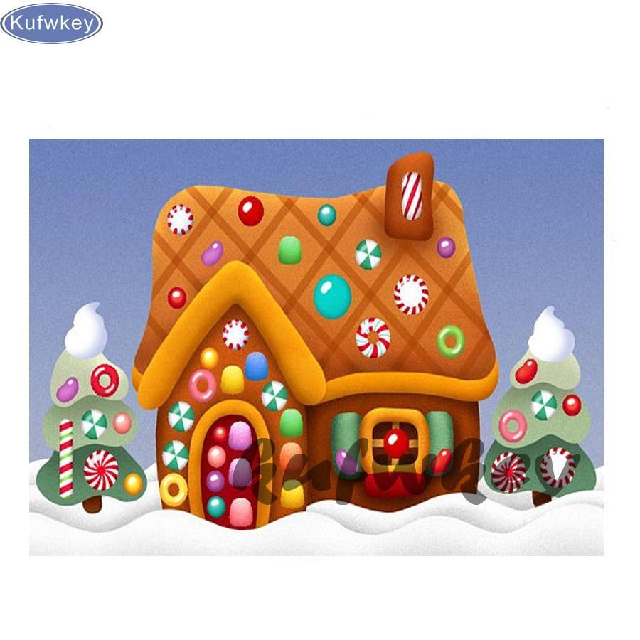 Christmas Gingerbread House Cartoon.5d Diy Diamond Painting Cartoon Simple Gingerbread House