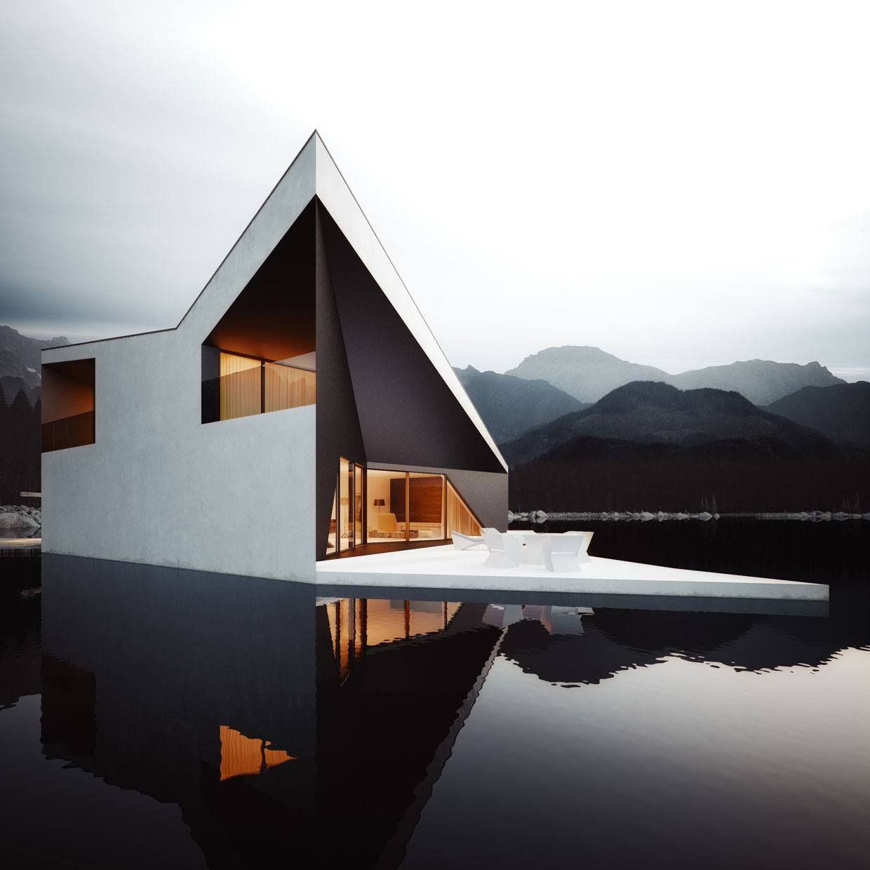 This stunning almost mystifying visualization was created by michael nowak for polish architectural practice the razor sharp lines and rich dimensional