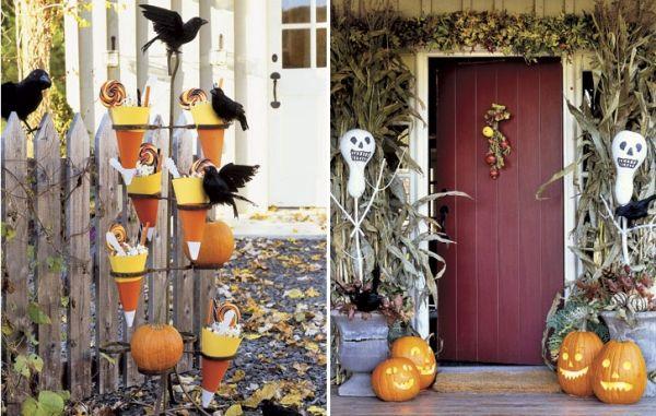 Halloween Deko Außen Tüten Süßigkeiten Maisblätter Haustür