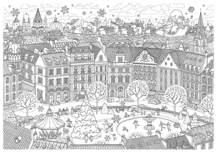 Christmas Coloring Pages Colors Adult Books Colouring Winter Scenes Cityscapes Zentangle Paper Art Mandalas Clever
