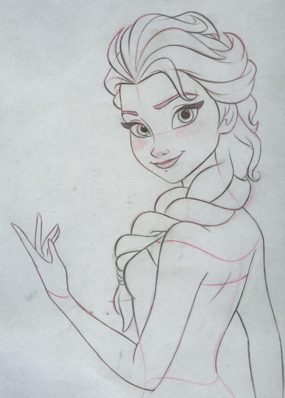 Elsa Final Clean Up Drawing Pencil And Paper Disney