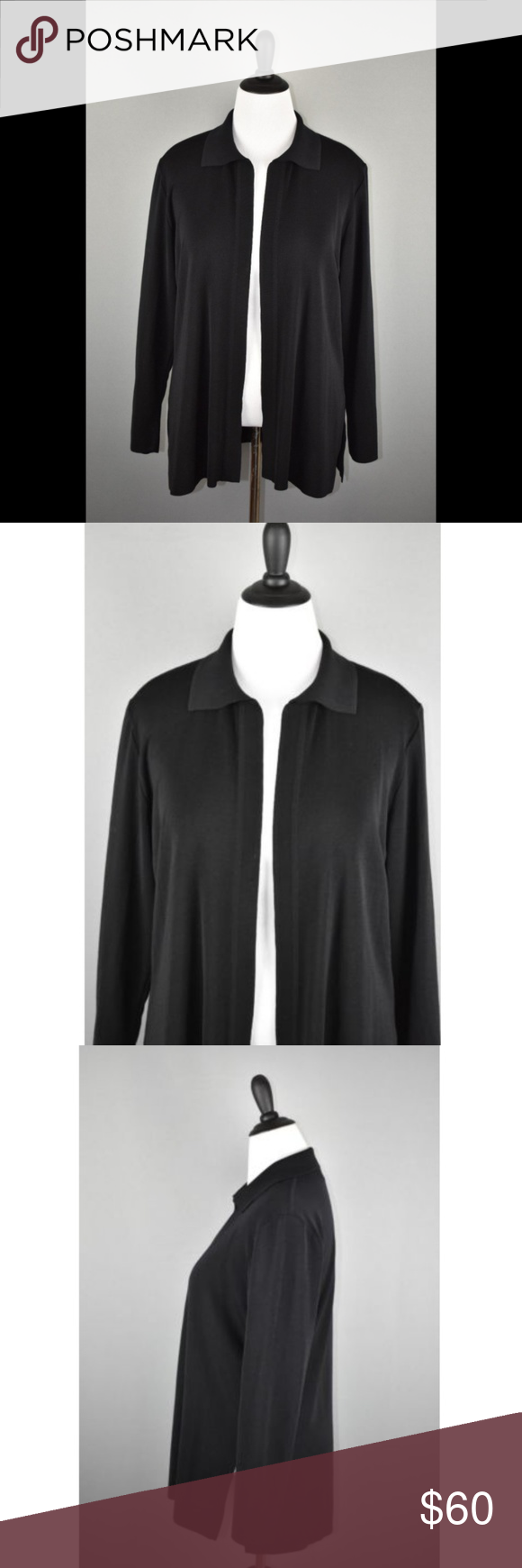 Exclusively Misook Black Acrylic Open Cardigan Excellent Condition Size Tag Has Been Removed Size 1x Determined By Comp Clothes Design Open Cardigan Cardigan