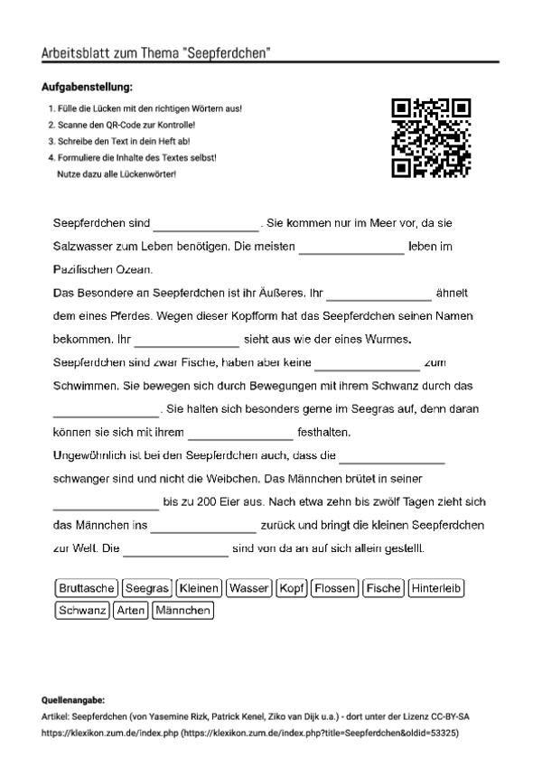 Niedlich Seepferdchen Arbeitsblatt Ideen - Arbeitsblätter für ...