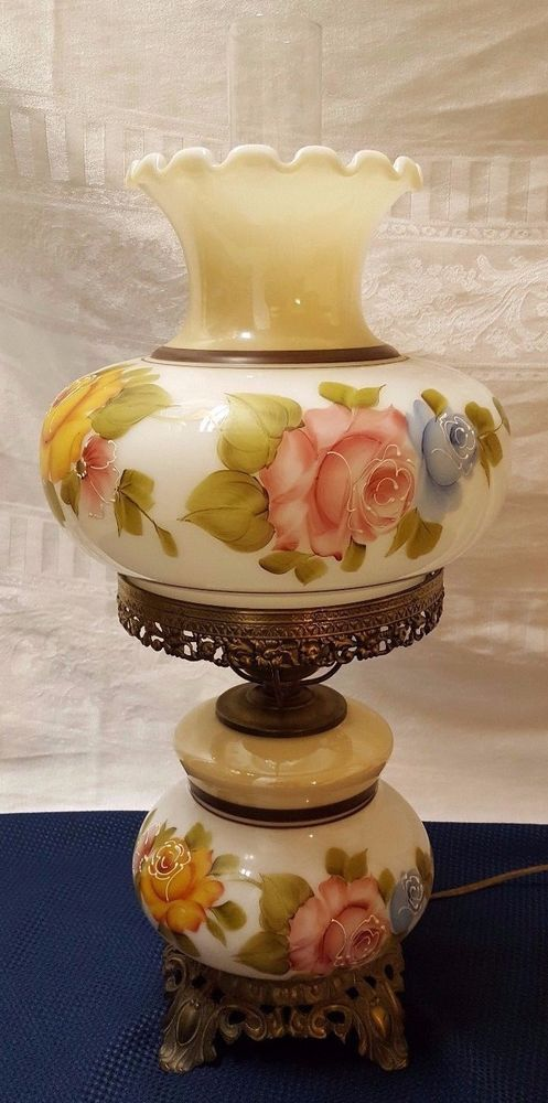 Vintage Gwtw Hurricane Lamp Milk Glass Hand Painted Pink Orange